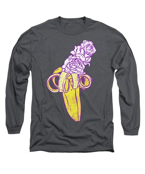 Floral Banana Long Sleeve T-Shirt by Evgenia Chuvardina
