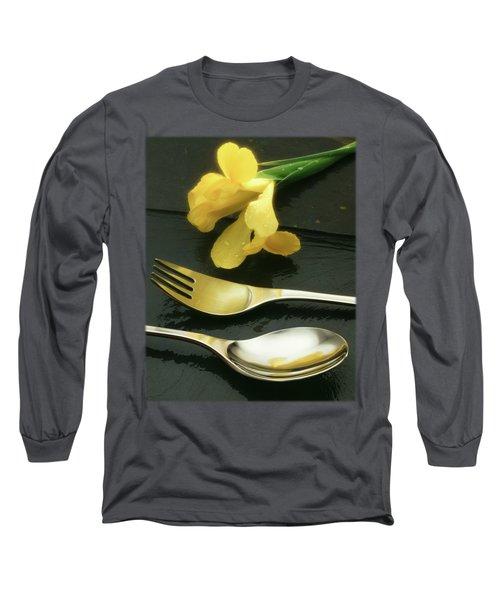 Flowers On Slate Long Sleeve T-Shirt by Jon Delorme