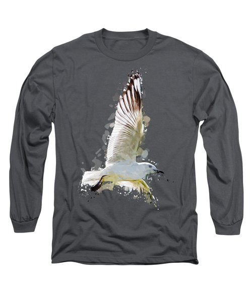 Flying Seagull Abstract Sky Long Sleeve T-Shirt by Elaine Plesser