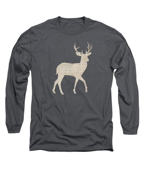 French Script Stag Long Sleeve T-Shirt by Amanda Lakey