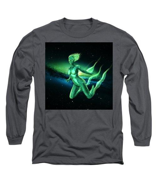 Galaxy Mermaid Long Sleeve T-Shirt by Rene Lopez