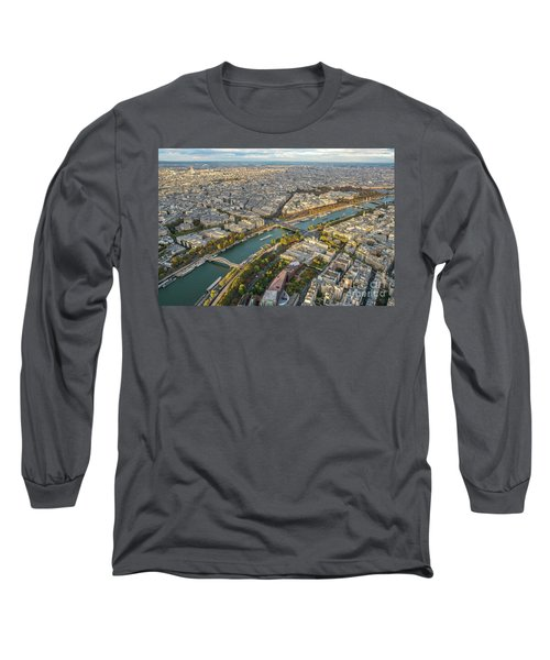 Golden Light Along The Seine Long Sleeve T-Shirt by Mike Reid