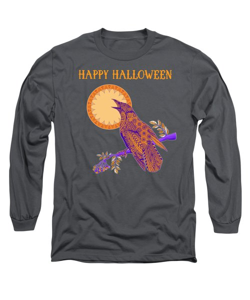 Halloween Crow And Moon Long Sleeve T-Shirt by Tammy Wetzel