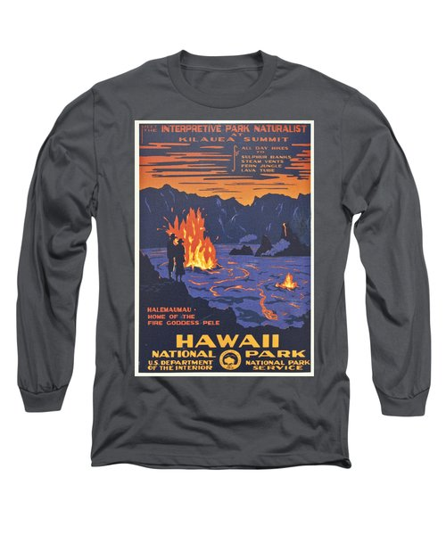 Hawaii Vintage Travel Poster Long Sleeve T-Shirt by Georgia Fowler