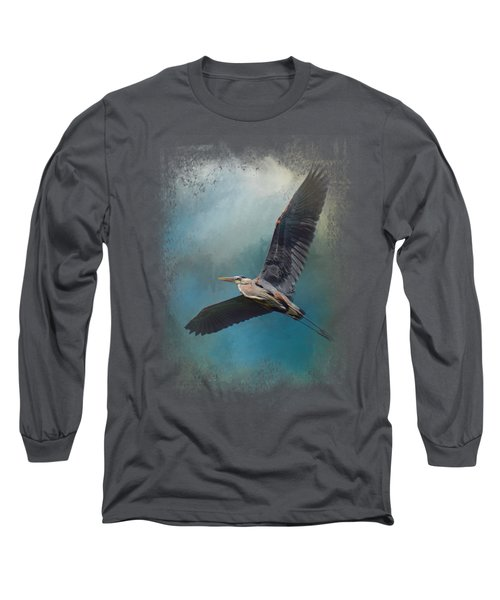 Heron In The Midst Long Sleeve T-Shirt by Jai Johnson