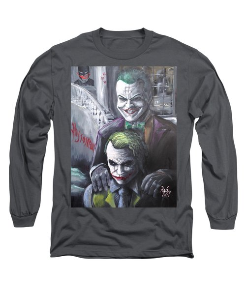 Jokery In Wayne Manor Long Sleeve T-Shirt by Tyler Haddox