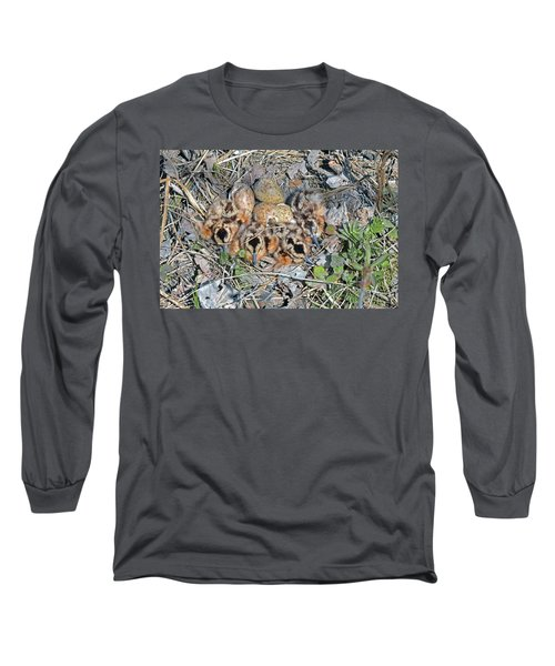 Just Hatched American Woodcock Chicks Long Sleeve T-Shirt by Asbed Iskedjian
