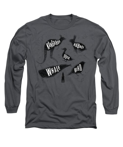 Kangaroo - Rabbit - Duck - Whale - Bird In Black Long Sleeve T-Shirt by Aloke Design