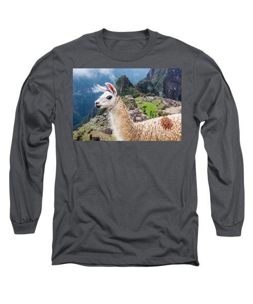 Llama At Machu Picchu Long Sleeve T-Shirt by Jess Kraft