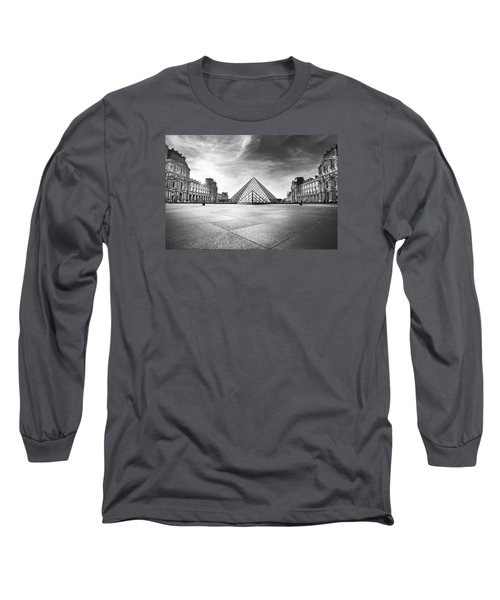 Louvre Bw Long Sleeve T-Shirt by Ivan Vukelic