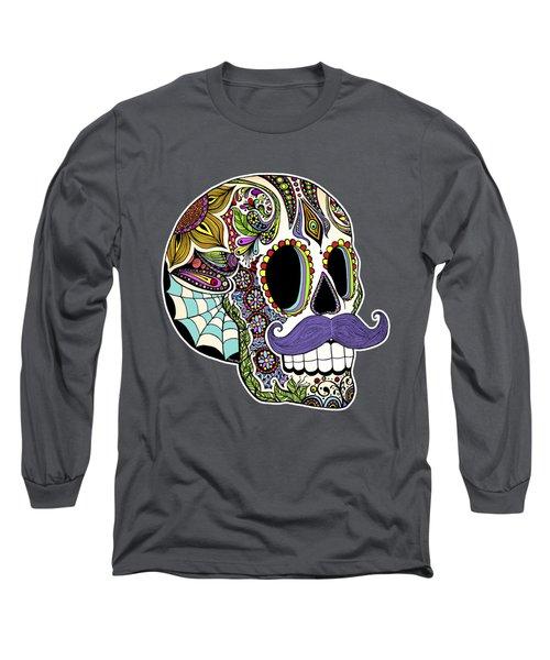 Mustache Sugar Skull Long Sleeve T-Shirt by Tammy Wetzel