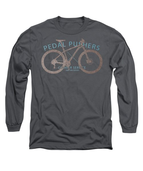 Pedal Pushers Courier Service Bike Tee Long Sleeve T-Shirt by Edward Fielding