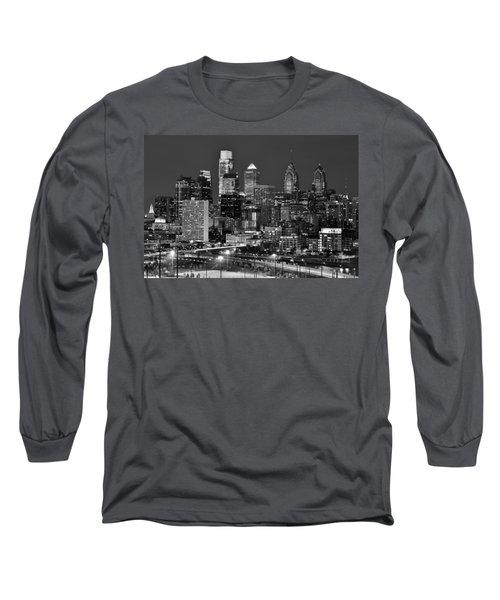 Philadelphia Skyline At Night Black And White Bw  Long Sleeve T-Shirt by Jon Holiday