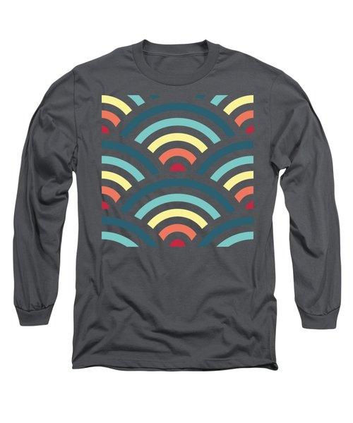 Rainbowaves Pattern Dark Long Sleeve T-Shirt by Freshinkstain