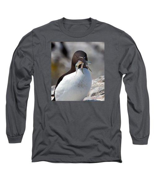 Razorbill With Catch Long Sleeve T-Shirt by Mike Dodak