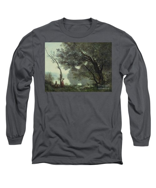 Recollections Of Mortefontaine Long Sleeve T-Shirt by Jean Baptiste Corot