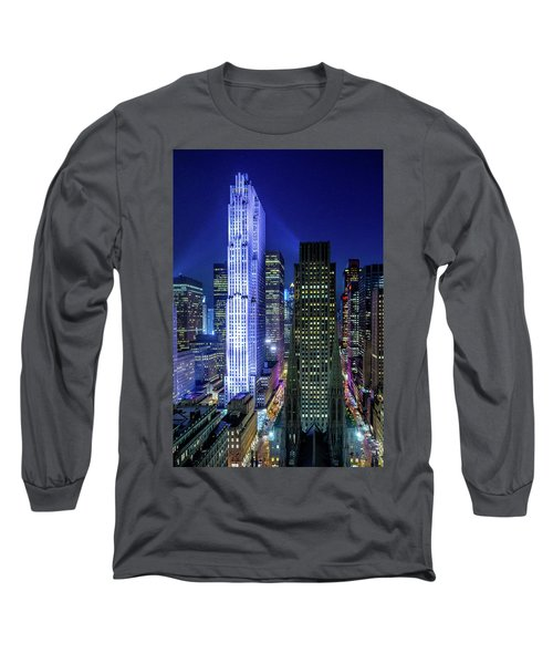Long Sleeve T-Shirt featuring the photograph Rockefeller At Night by M G Whittingham