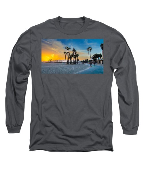 Santa Monica Sunset Long Sleeve T-Shirt by Az Jackson