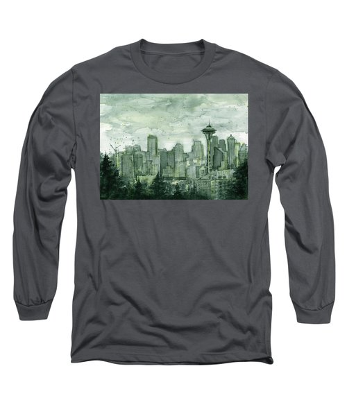 Seattle Skyline Watercolor Space Needle Long Sleeve T-Shirt by Olga Shvartsur