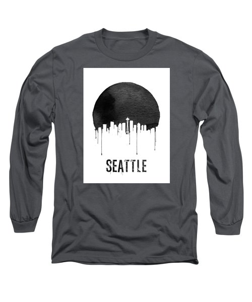 Seattle Skyline White Long Sleeve T-Shirt by Naxart Studio