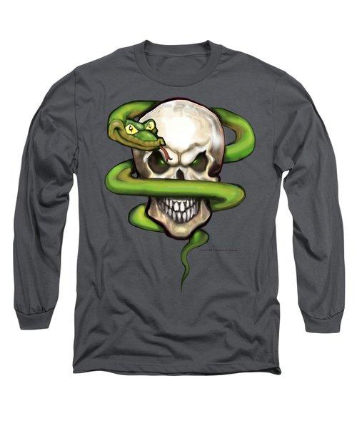 Serpent Evil Skull Long Sleeve T-Shirt by Kevin Middleton