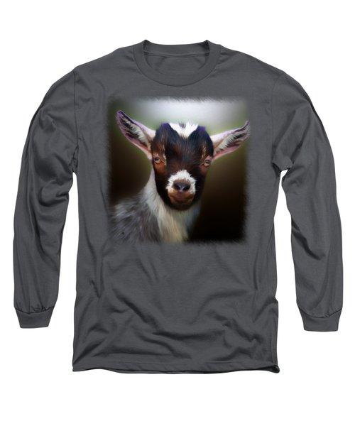 Skippy - Goat Portrait Long Sleeve T-Shirt by Linda Koelbel