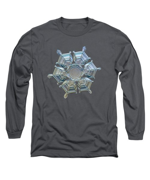 Snowflake Photo - Ice Relief Long Sleeve T-Shirt by Alexey Kljatov