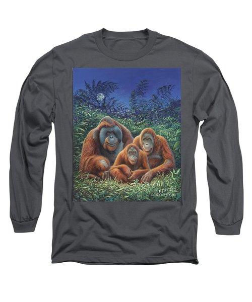 Sumatra Orangutans Long Sleeve T-Shirt by Hans Droog