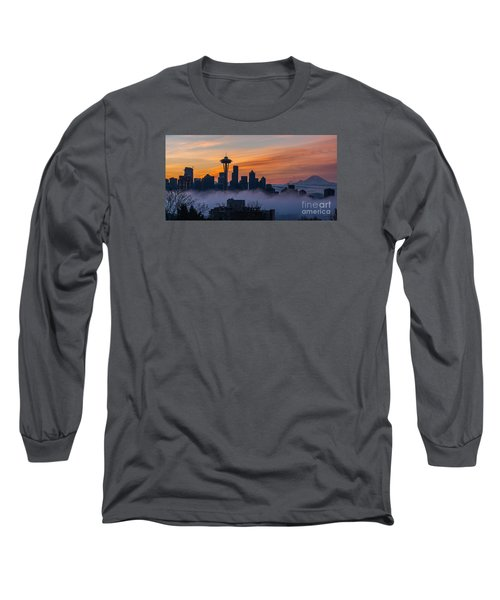 Sunrise Seattle Skyline Above The Fog Long Sleeve T-Shirt by Mike Reid