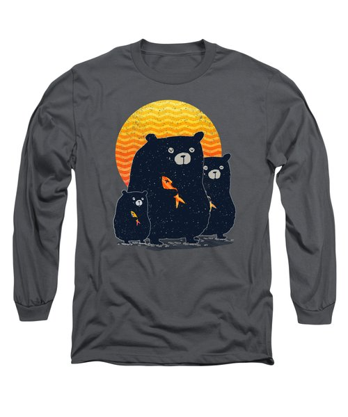 Sunset Bear Family Long Sleeve T-Shirt by Illustratorial Pulse