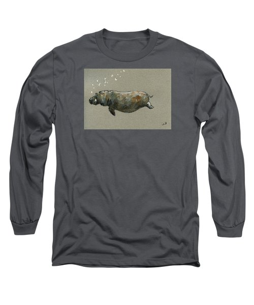 Swimming Hippo Long Sleeve T-Shirt by Juan  Bosco
