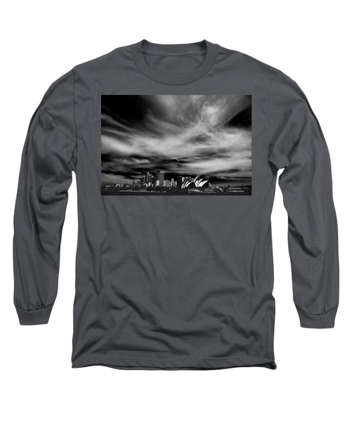 Sydney Skyline With Dramatic Sky Long Sleeve T-Shirt by Avalon Fine Art Photography