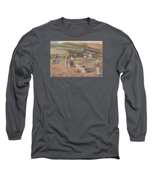 The Potato Harvest Long Sleeve T-Shirt by Camille Pissarro