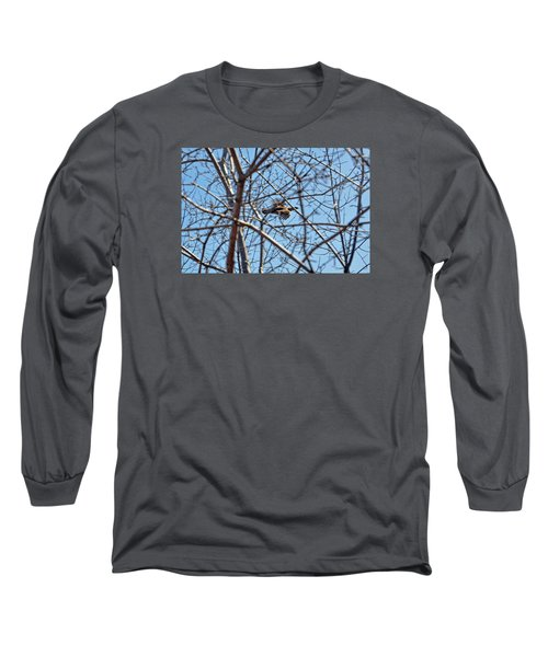 The Ruffed Grouse Flying Through Trees And Branches Long Sleeve T-Shirt by Asbed Iskedjian