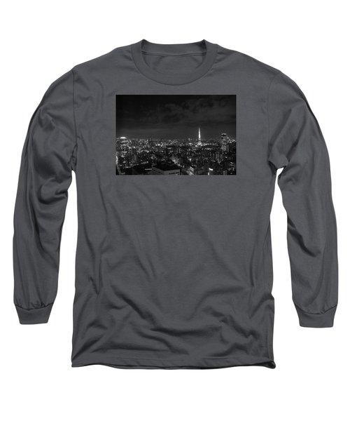 Tokyo Skyline Long Sleeve T-Shirt by Liz Grandstaff