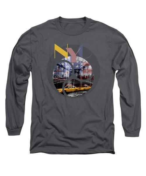 Trendy Design New York City Geometric Mix No 2 Long Sleeve T-Shirt by Melanie Viola