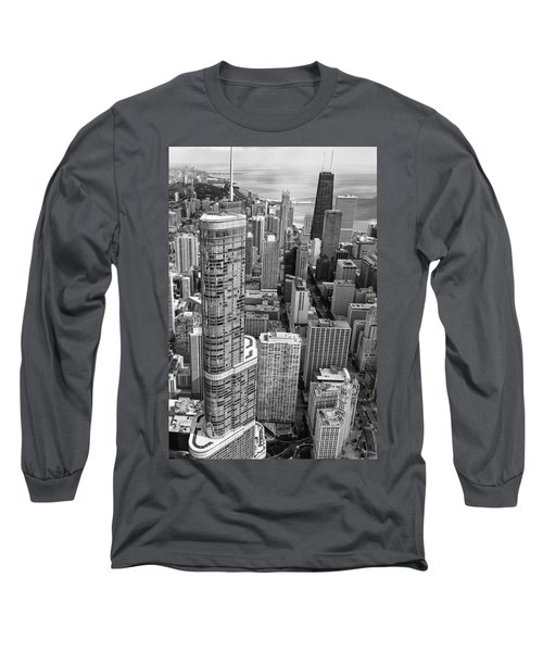 Trump Tower And John Hancock Aerial Black And White Long Sleeve T-Shirt by Adam Romanowicz