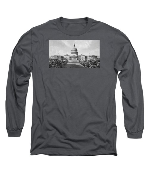 Us Capitol Building Long Sleeve T-Shirt by War Is Hell Store