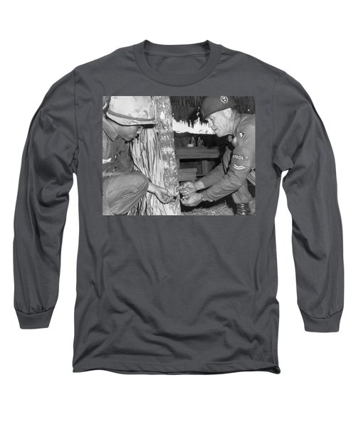 Viet Cong Booby Trap Long Sleeve T-Shirt by Underwood Archives