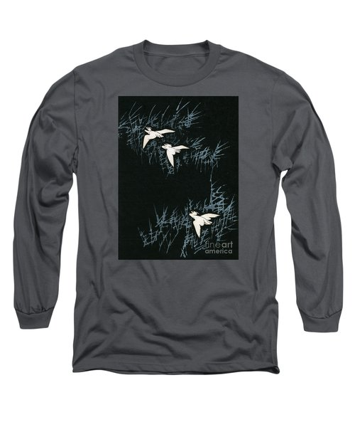 Vintage Japanese Illustration Of Three Cranes Flying In A Night Landscape Long Sleeve T-Shirt by Japanese School
