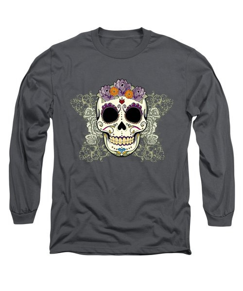Vintage Sugar Skull And Flowers Long Sleeve T-Shirt by Tammy Wetzel