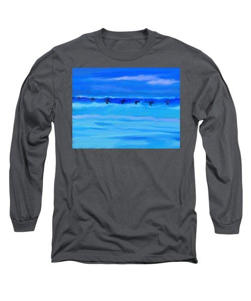 Vol De Pelicans Long Sleeve T-Shirt by Aline Halle-Gilbert