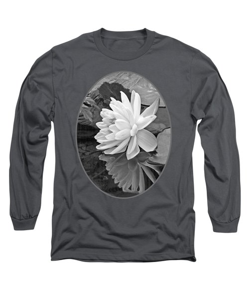 Water Lily Reflections In Black And White Long Sleeve T-Shirt by Gill Billington