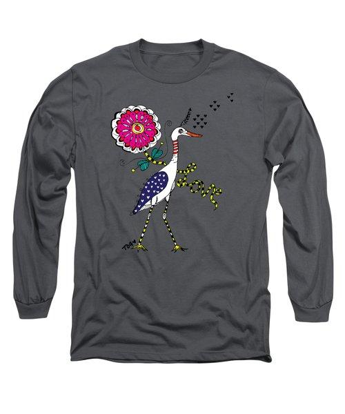 Weak Coffee Lovebird Long Sleeve T-Shirt by Tara Griffin
