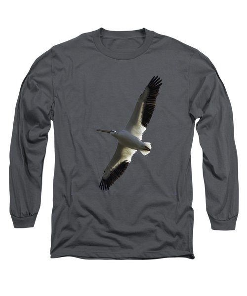 White Pelican In Flight Transparency Long Sleeve T-Shirt by Richard Goldman