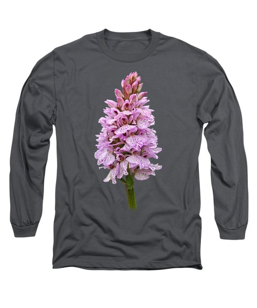 Wild Pink Spotted Orchid Long Sleeve T-Shirt by Gill Billington