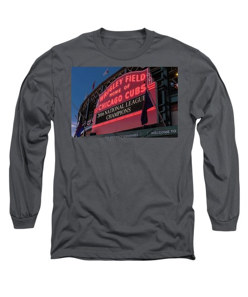 Wrigley Field Marquee Cubs National League Champs 2016 Long Sleeve T-Shirt by Steve Gadomski