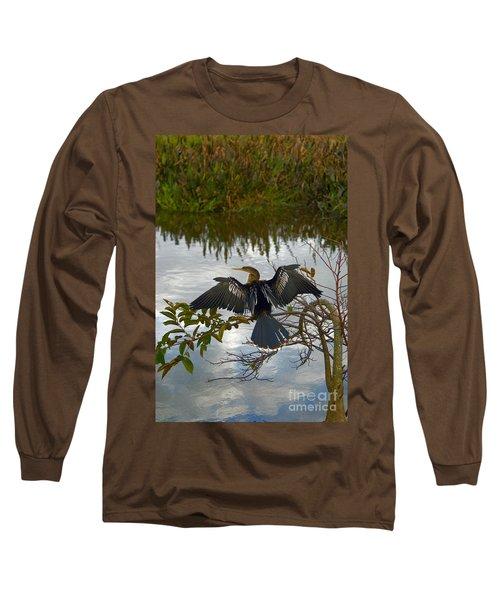 Anhinga Long Sleeve T-Shirt by Mark Newman