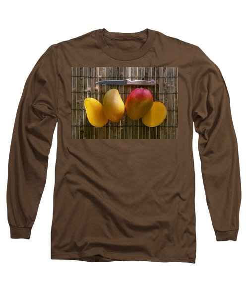 Agriculture - Sliced Sunrise Mango Long Sleeve T-Shirt by Daniel Hurst