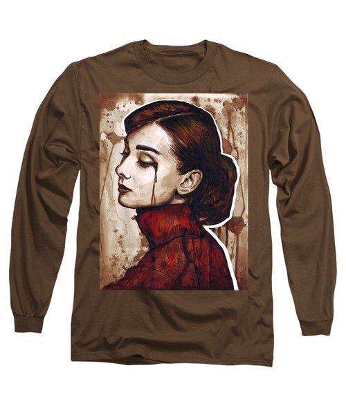 Audrey Hepburn Portrait Long Sleeve T-Shirt by Olga Shvartsur